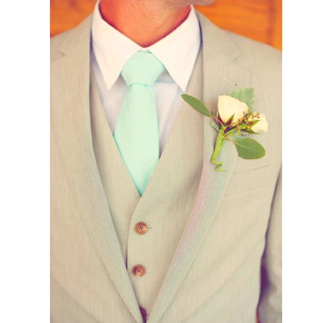 Tan Suits And Pastel Ties Green And Pink Wedding