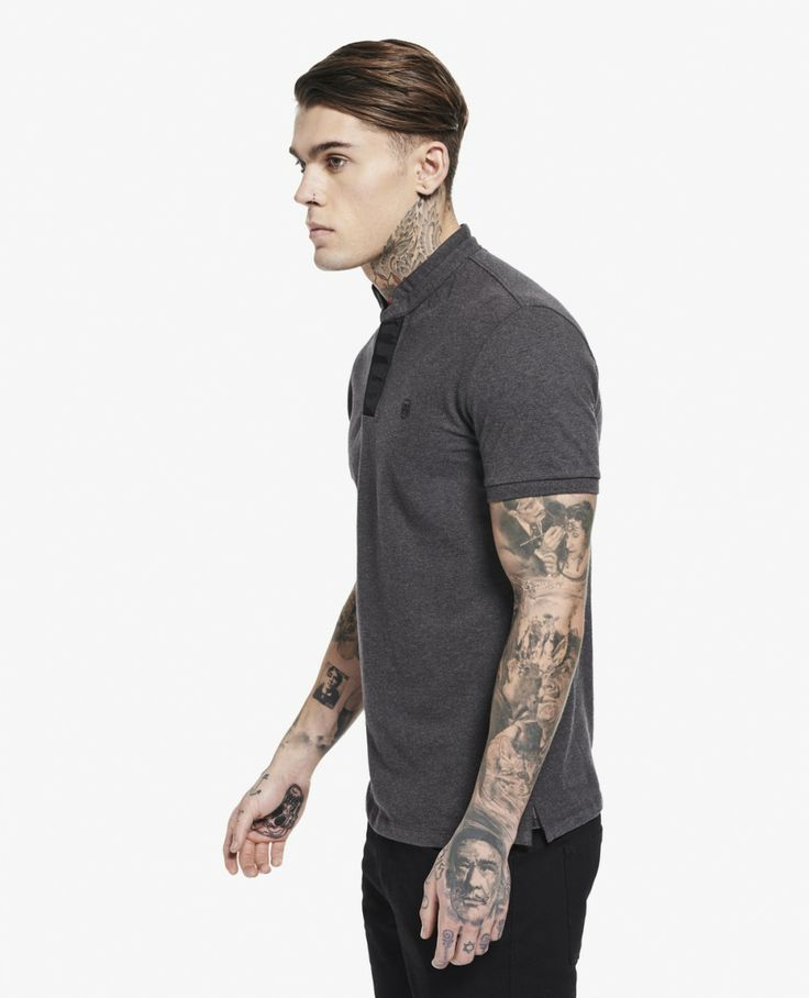 Polo shirt with stand collar and grosgrain placket - Polo - Man - The Kooples