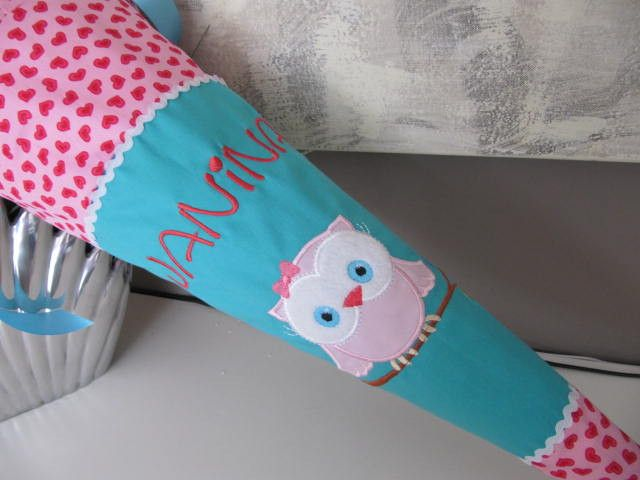 Schultüte Zuckertüte Einschulung Eule Uhu von LOTTANELLI auf DaWanda.com