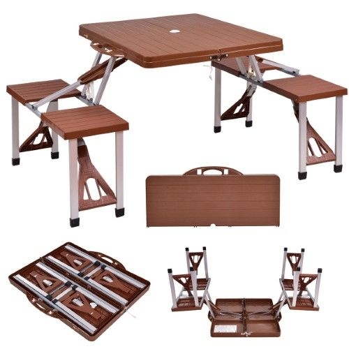 Costway Outdoor Foldable Portable Aluminum Plastic Picnic Table Camping w/ Bench 4 Seat | Jet.com