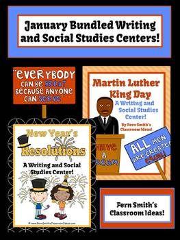 Discounted Bundle of January Writing and Social Studies Center - MLK & New Years #TPT $Paid #TeachersFollowTeachers #FernSmithsClassroomIdeas