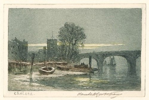 ROWBOTHAM, Claude Hamilton. Chelsea.  Original etching and aquatint with hand-colour, signed by the artist, c.1920. #London #etching #coloured