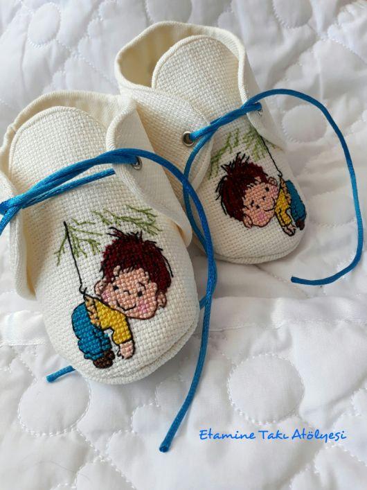 kanaviçe bebek ayakkabıları // cross stitch baby shoes