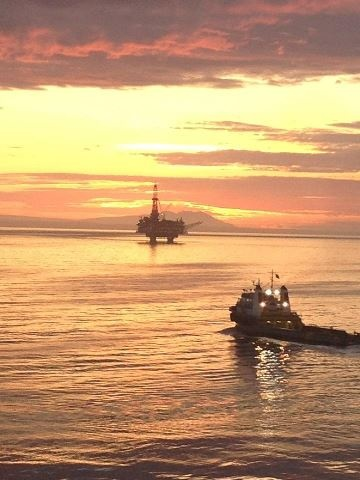 OFFSHORE RIG AND TUG BOAT - GULF OF MEXICO, S. W. LOUISIANA