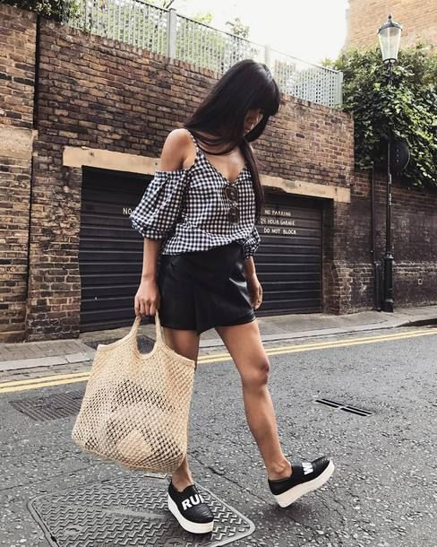Pull&Bear Leather Look Knot Flatform Trainer Teamed With Noisy May Leather Look Skirt Small Round Handle Bag And Navy Gingham Puff Sleeve Cold Shoulder Top Tumblr