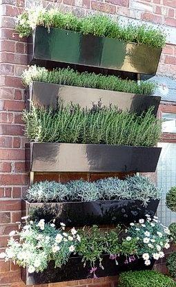 Garden Wall - metal planters on brick
