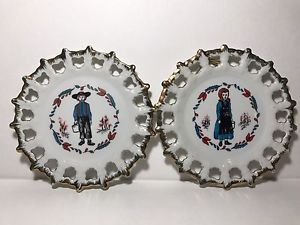 Pair Of 1950s Brinns Pittsburgh PA Amish Man & Woman Collector Plates W/Hanger  | eBay