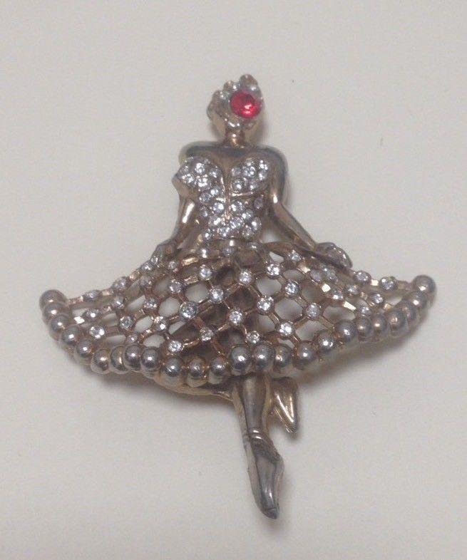 Vintage Rhinestone Ballerina Dancer Brooch - SALE    eBay