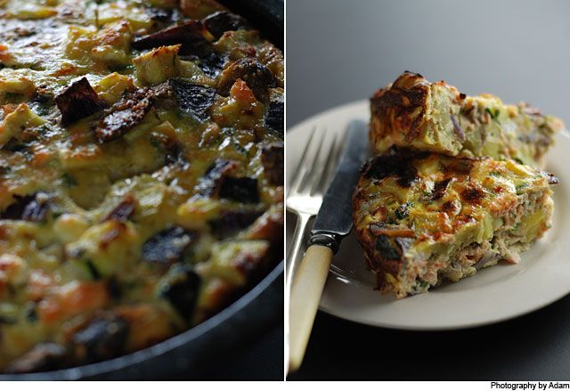 Baked Salmon & Roasted Vege Frittata from Our Kitchen at Fisher & Paykel. Baked Frittata featuring roast veges and Salmon. Perfect for a quick meal or a shared morning tea.