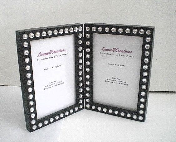 black bling 4 x 6 double picture frame black w clear rhinestones by lauriebcreations