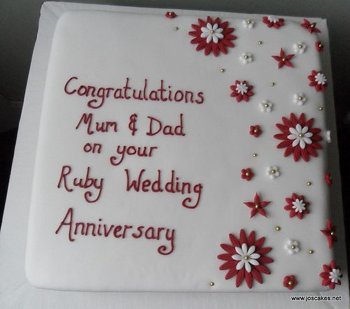 Ruby Wedding Anniversary Cake Decorating Ideas