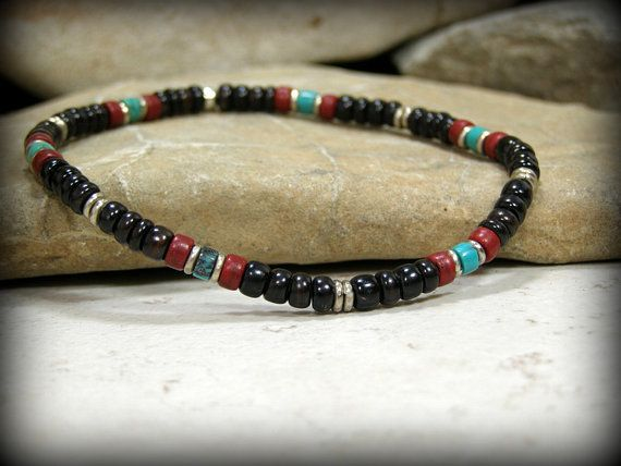 Mens Bracelet, Tribal Bracelet, Native American,  Mens Jewelry, Turquoise Bracelet, Southwest Bracelet, Stretch Bracelet, Stacking Bracelet