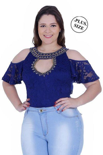9a5c846cb Body feminino Zigma ombro nu Plus size em renda e suplex com lindos bordados.  Possui