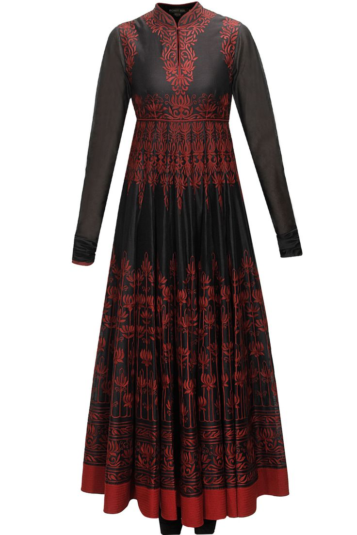 Black and red aari embroidered anarkali set available only at Pernia's Pop-Up Shop.