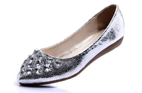 Womens Ladies Crackled Metallic Rhinestore Diamante Ballerina Flat Shoes 2106 | eBay