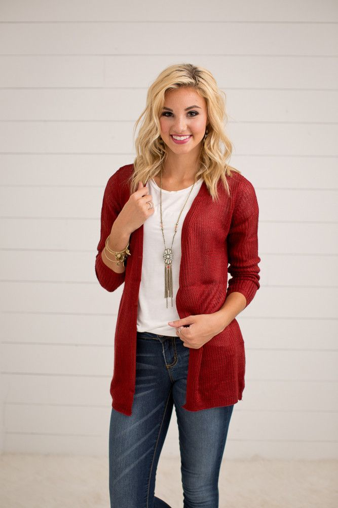 BURGUNDY KNIT CARDIGAN WITH POCKETS | ONLINE WOMEN'S FASHION | ONLINE BOUTIQUE These cardigans are a must and you need one in every color! They can be paired w