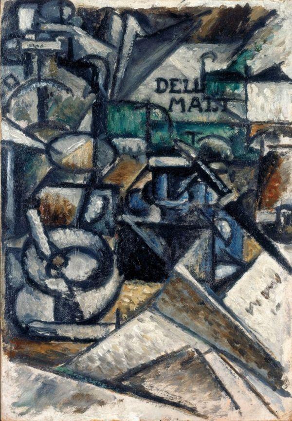 Ardengo Soffici, Nature morte encrier (Scomposizione di piani plastici), 1913, olio su cartone, cm 35 x 24, Fondazione Domus per l'arte moderna e contemporanea