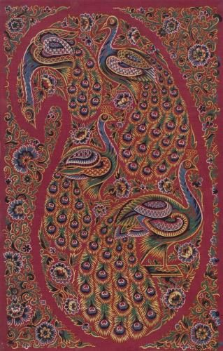 One of two textile samples of madder Turkey red dyed and printed cotton mounted on card. Hand block printed design of four multicoloured peacocks within a paisley motif surrounded by multicoloured floral border. Part of the Turkey Red Collection, A.1962.1266.1 - A.1962.1266.78, with subdivisions, totalling c. 40,000 items: Scottish, Dunbartonshire, by William Stirling and Sons, c. 1835