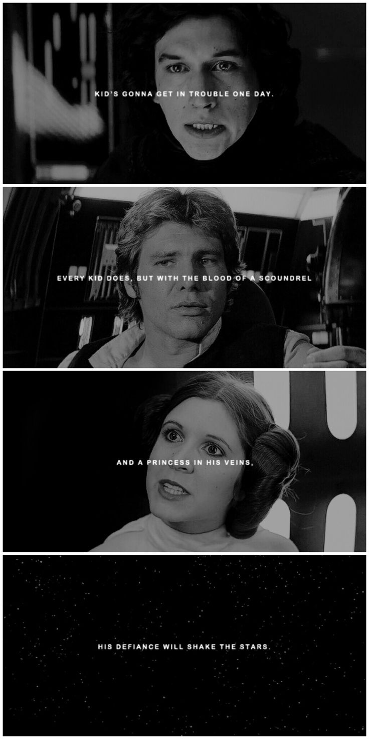 Kid's gonna get in trouble one day. Every kid does, but with the blood of a scoundrel and a princess in his veins, his defiance will shake the stars. #star wars