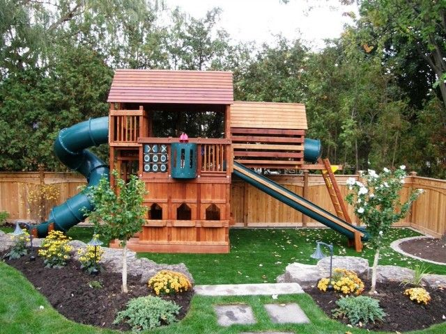 I love the big rocks and the flower/tree beds....rubber mulch instead of  grass under the playground and I think I have some great ideas… | Outdoor  Fun! - I Love The Big Rocks And The Flower/tree Beds....rubber Mulch