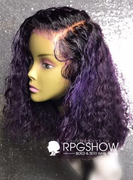 Velvet-Blunt Purple Curly Human Hair Lace Wigs - touchedbytim026 [touchedbytim026] - $419.99 : Full Lace Wigs & Lace Front Wigs | RPGSHOW - Bold & Sexy Hair