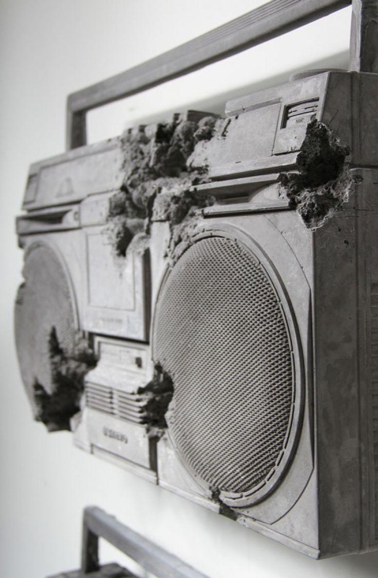 Daniel Arsham, obsidian, steel and ash eroded radios 2014