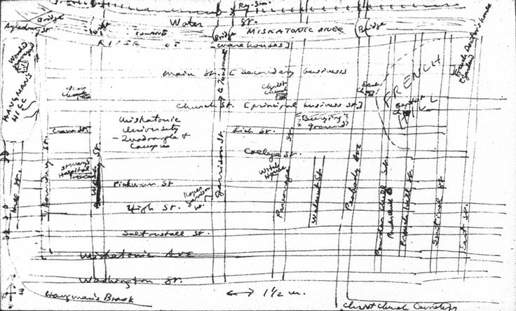 """The H. P. Lovecraft Collection of Brown University Library in Providence, R.I. includes a manuscript item that must rank as one of the Holy Grails for the Lovecraft fan: HPL's own hand-drawn """"Map of the Principal Parts of Arkham, Massachusetts"""""""