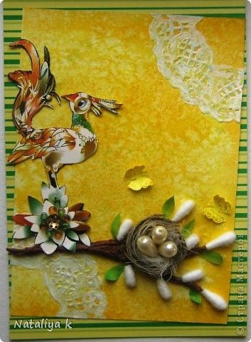Открытка с птицей счастья / Card with bird of happiness