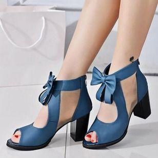Cuero Peep Sandalias Mujer De Zapatos Salón Toe 6fqwxRC