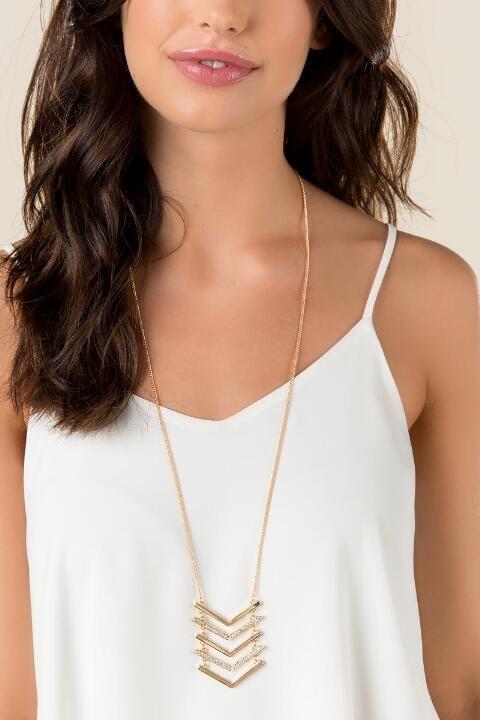 Reese Pavè Chevron Pendant Necklace- Gold model