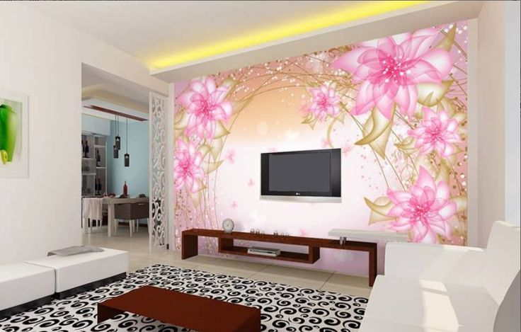 Beautiful Lcd Cabinet Pink Wall Sticker Design Id845 - Lcd Cabinet Wall Designs - Wall Designs - Art Design