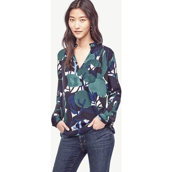 Ann Taylor Petite Cypress Botanical Smocked Ruffle Collar Blouse ($80) ❤ liked on Polyvore featuring tops, blouses, intense emerald, floral tops, floral print blouse, petite long sleeve tops, ruffle collar blouse and ann taylor blouses