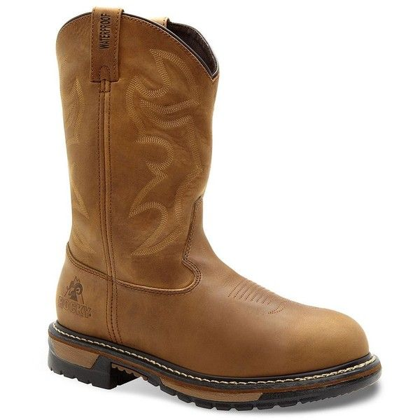 Rocky Original Ride Waterproof Branson Roper Men's Western Work Boots ($190) ❤ liked on Polyvore featuring men's fashion, men's shoes, men's boots, men's work boots, brown, mens leather work boots, men's pull on work boots, mens western boots, mens leather cowboy boots and mens slip on boots