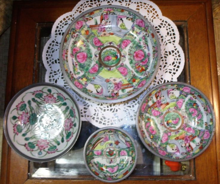 4 pc A.C.F. Japanese Porcelain Encased Ware Pewter Bowl ~ ACF Famille Rose Medallion Hand Painted - 3 sizes ~ China Dinnerware : asian living dinnerware - pezcame.com
