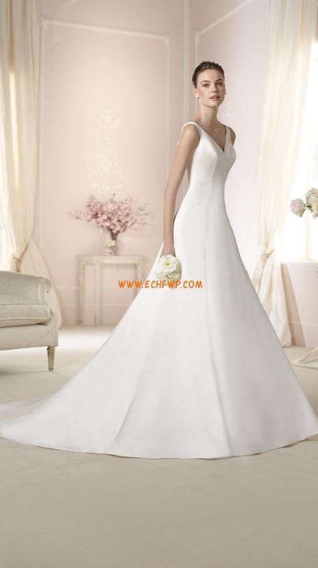 A-line Sleeveless Beading Wedding Dresses 2015
