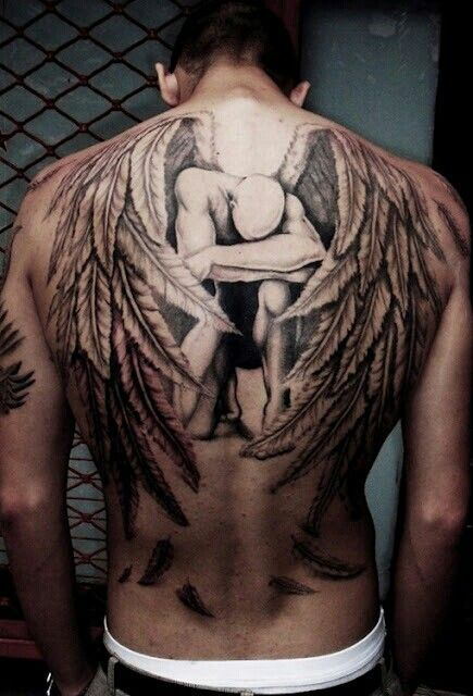 Back tattoo angel with wings