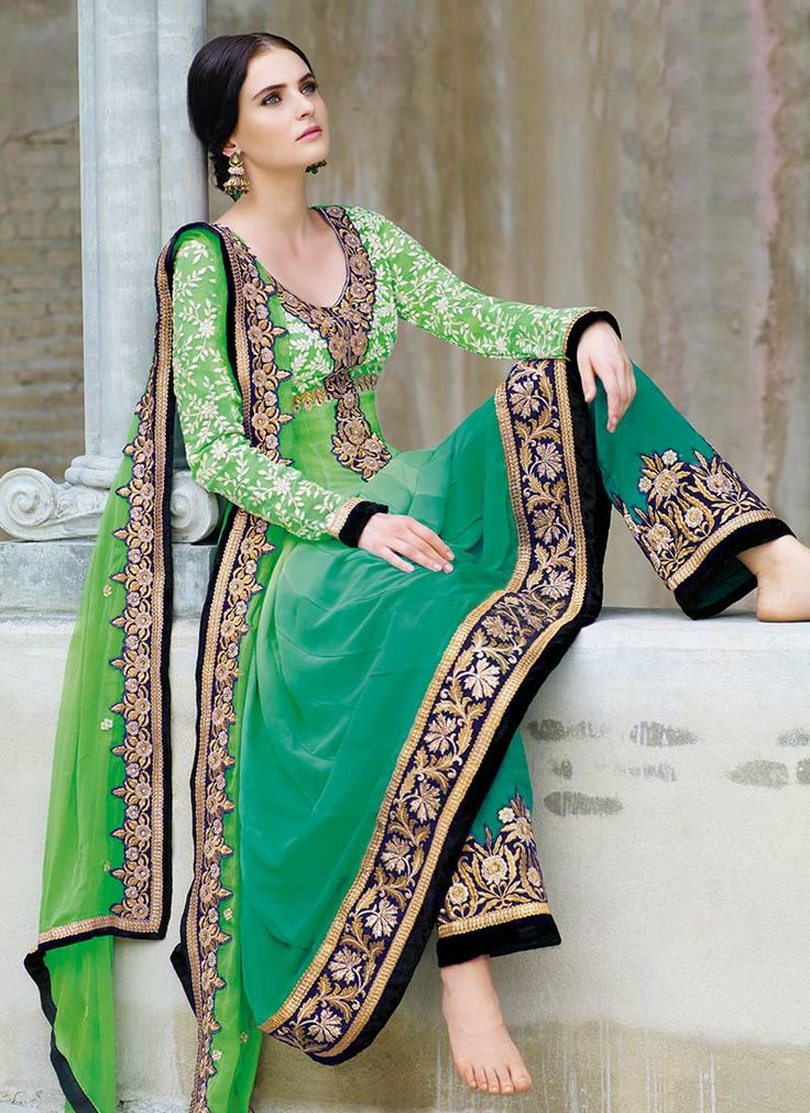 Graceful Green Georgette Anarkali Suit