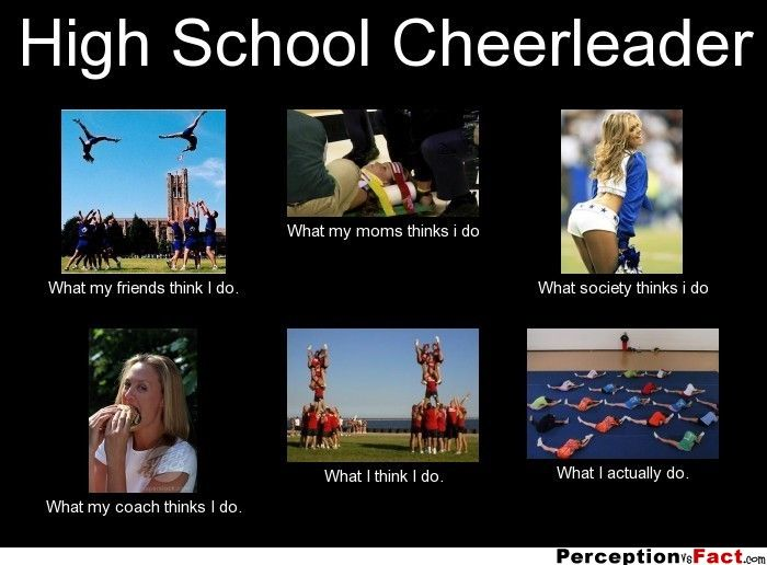 High School Cheerleader... - What people think I do, what I really do - Perception Vs Fact