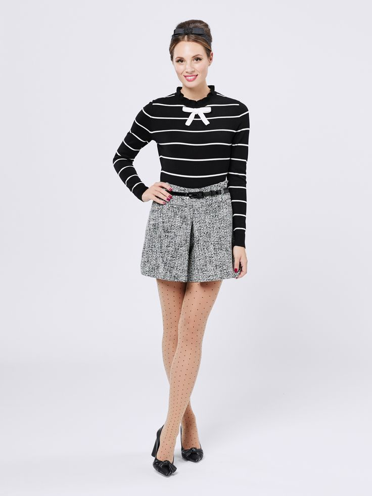 Simone Jumper | Black/Cream |Jumper Henley Short | Black/Cream | Short