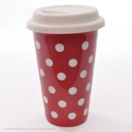 """Polka dots"" - double walled porcelain cup with silicone lid"