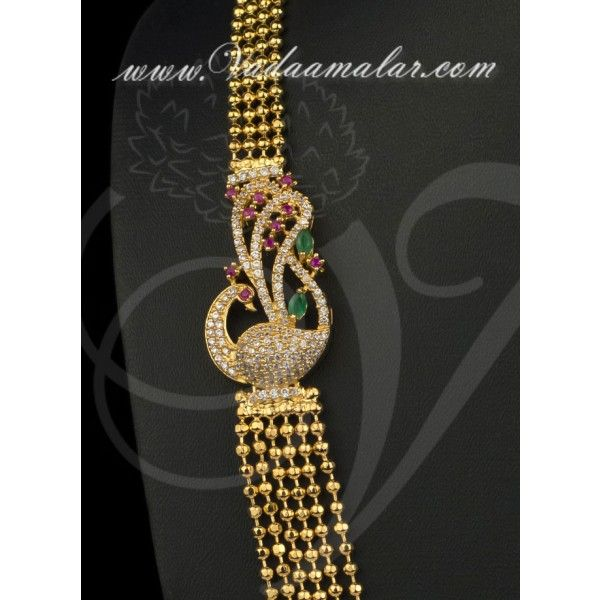 Peacock design ruby emerald stones side pendant with step necklace