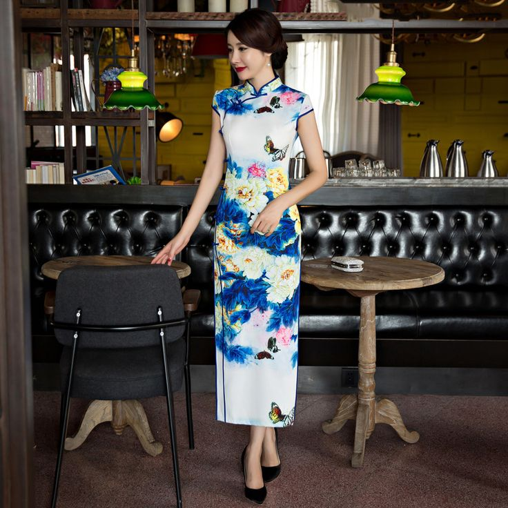 Vintage Chinese Traditional Dress Women Cheongsam Long Qipao Dresses Casual Robe Chinoise Blue Silk Vestido Oriental Qi Pao   #Affiliate