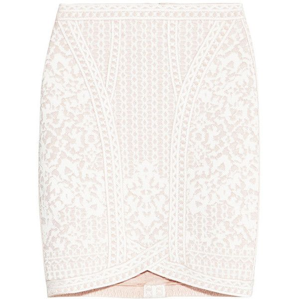 Herve Leger Abrianna Floral Diamond Jacquard Skirt ($990) ❤ liked on Polyvore featuring skirts, herve leger skirt, white skirt, jacquard skirt, floral print skirt and knee length pencil skirt