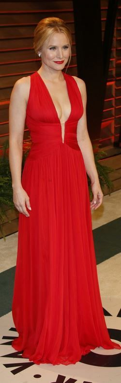 Who made  Kristen Bell's red gown that she wore in West Hollywood on March 2, 2014? Dress- Zuhair Murad