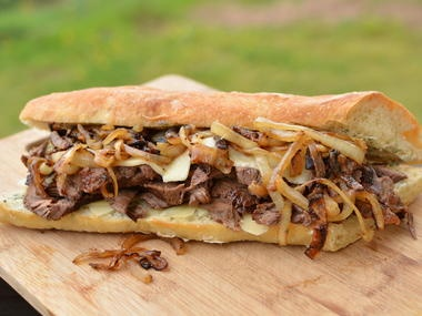 """This sandwich is the """"bomb""""! My husband loves steak and I am too bored with a simple slice of meat. To mix things up a bit, I made this sandwich for dinner the other day and it turned out heavenly."""