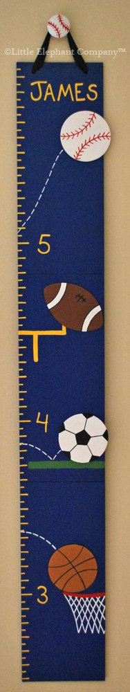 All Star Sports Wooden Growth Chart in Blue, handpainted, FREE nail cover and personalization. $59.99, via Etsy.
