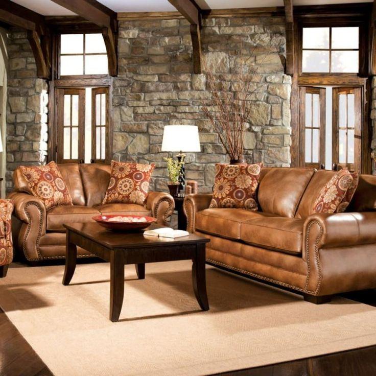 Rustic Leather Living Room Furniture Sets