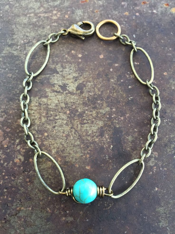 Brass Chain Bracelet with Magnesite Bead by ChristensenStudio on Etsy https://www.etsy.com/listing/238298321/brass-chain-bracelet-with-magnesite-bead