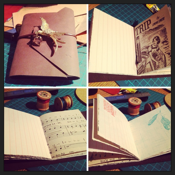 Totally recycled leather journal, handmade by me with a touch of bling