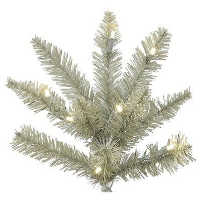 Good  ft Pre Lit Artificial Christmas Tree Platinum Fir with Warm White Led